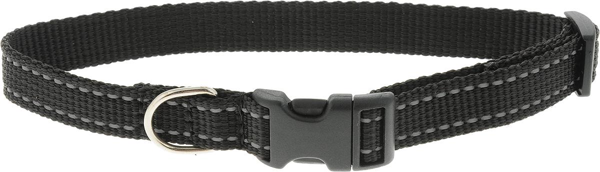Ошейник Аркон Капрон, цвет: черный, ширина 2 см, длина 34-53 см ошейник для собак аркон фетр цвет красный черный ширина 2 см длина 27 39 см