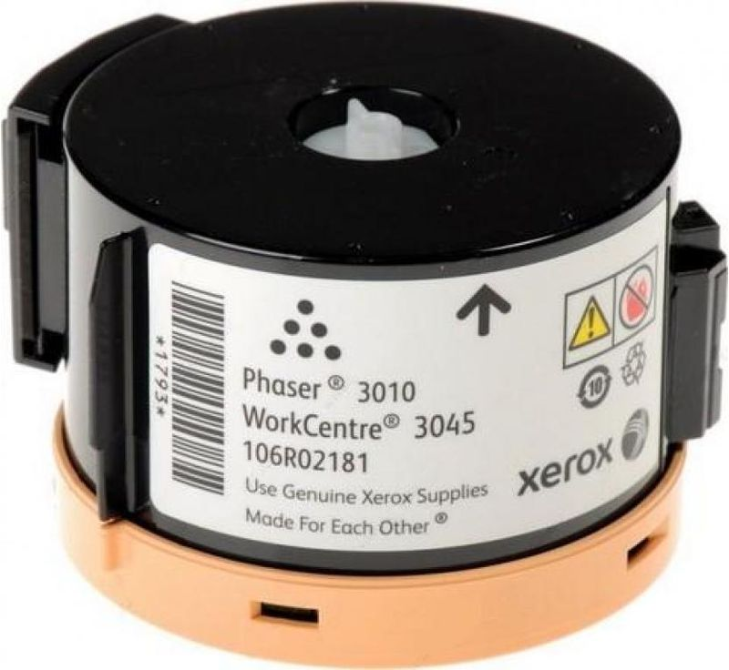 Xerox 106R02181, Black тонер-картридж для Xerox Phaser 3010/WorkCentre 3045B106R02181Картридж лазерный Xerox 106R02181 идеально подходит для работы с Xerox Phaser 3010 / WorkCentre 3045. Он способен обеспечить печать 1000 страниц при использовании стандартной бумаги формата А4. Картридж изготовлен из качественных материалов и гарантирует работоспособность даже в условиях максимальной загрузки устройства. Картридж предназначен для печати черным цветом и обеспечивает бесперебойную работу современного оборудования. Xerox 106R02181 ? это сочетание лучших материалов по доступной цене.
