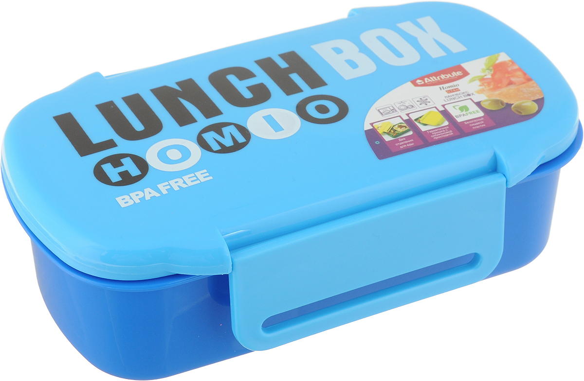 Ланч-бокс Attribute Homio, цвет: синий, голубой, 740 мл41580Ланч-бокс Attribute Homio изготовлен из безопасного пищевого пластика. Изделие имеет два отделения для еды. Герметичная крышка с силиконовой прокладкой плотно закрывается на 2 защелки и долго сохраняет продукты свежими. Такой ланч-бокс будет очень полезен в поездках, для работы, учебы.Изделие можно использовать в микроволновой печи, в холодильнике при температуре до -20°С. Можно мыть в посудомоечной машине.