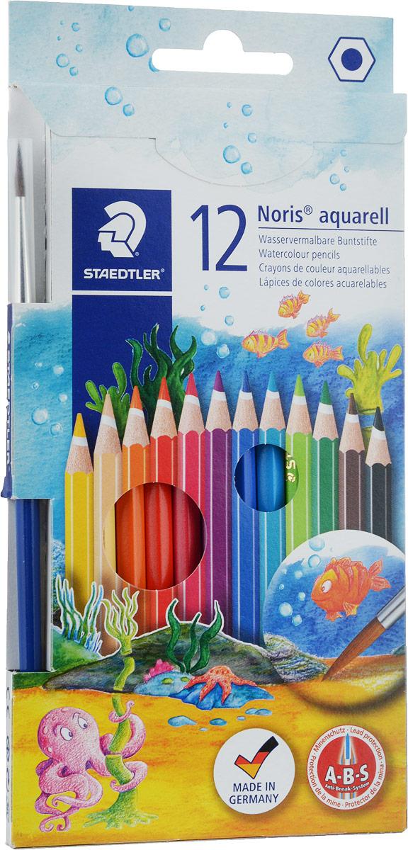 Staedtler Набор акварельных карандашей Noris Club с кисточкой 12 цветов14410NC12Акварельные карандаши Staedtler Noris Club предназначены для школы и творческих мастерских.Хорошо размываются водой.Цвета легко смешиваются между собой, можно получить практически любой оттенок, при желании добившись нежного эффекта акварели.Интересный эффект достигается, когда рисунок наносится на предварительно смоченный картон или бумагу.Карандаши шестигранной формы, корпус выполнен из натурального дерева. Грифель, даже при падении карандаша, не ломается, так как надежно защищен системой ABS (anti breakage system) - дополнительным белым слоем.В комплекте идет кисточка с защитным колпачком.Акварельные карандаши соответствуют всем европейским стандартам.Уважаемые клиенты! Обращаем ваше внимание на то, что упаковка может иметь несколько видов дизайна. Поставка осуществляется в зависимости от наличия на складе.