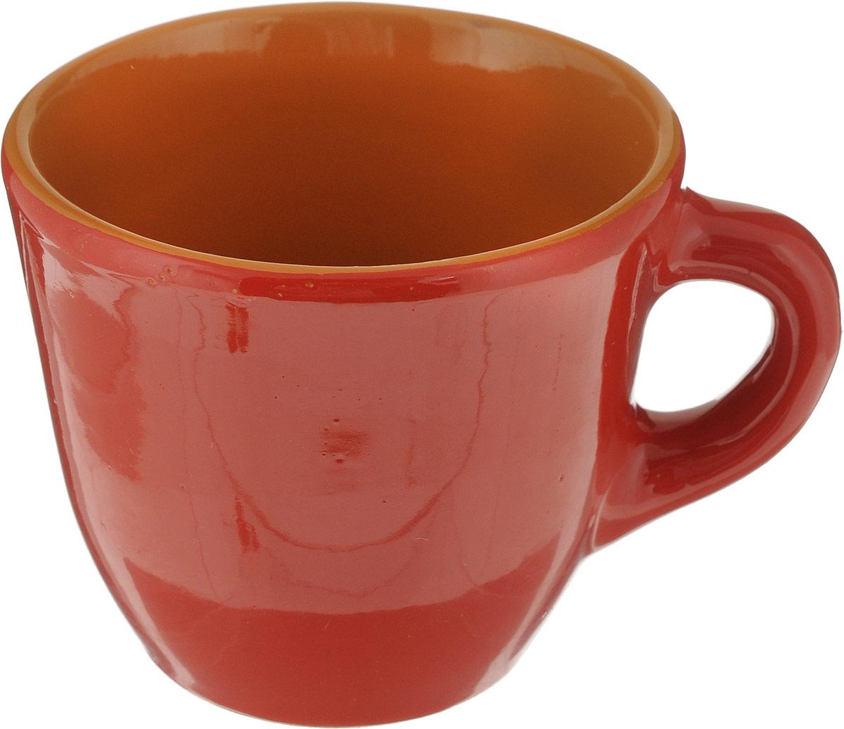 Чашка Борисовская керамика Красный, цвет: красный, 300 мл стенки модульные