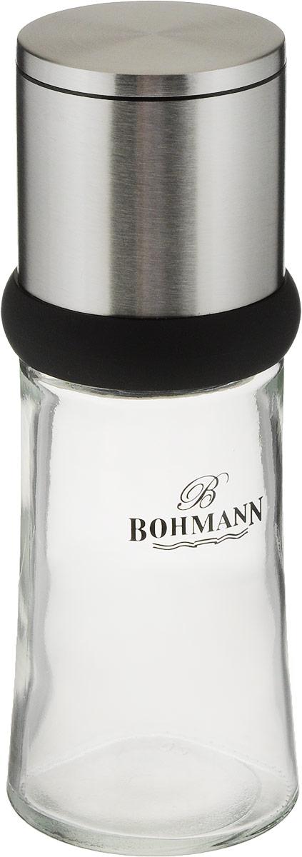 Мельница для перца Bohmann, 6 х 6 х 16 см7827BHМельница для перца Bohmann, выполненная из стекла, пластика и нержавеющей стали, имеет уникальный современный дизайн и функциональность. Изделие оснащено регулируемым перемалываемым механизмом.Мельница Bohmann - отличное приспособление для приготовления блюд со свежемолотым перцем.