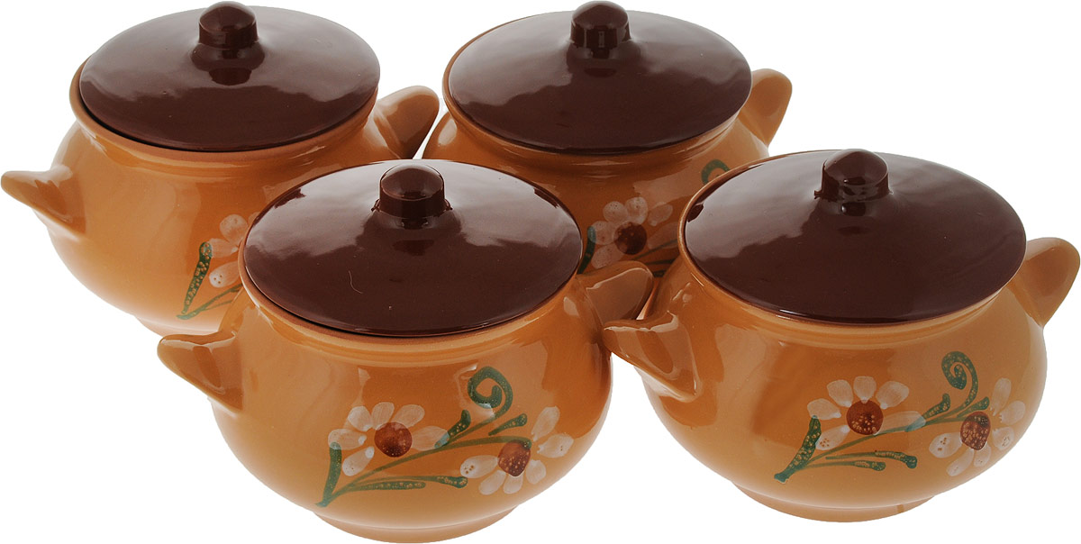 Набор горшочков для запекания Борисовская керамика Русский, цвет: коричневый, бежевый, 950 мл, 4 шт набор горшочков для запекания борисовская керамика стандарт с крышками цвет коричневый зеленый белый 500 мл 4 шт