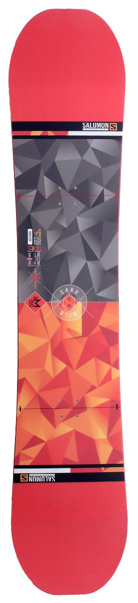 Сноуборд Salomon Wild Card, 150 см. L39185300L39185300Сноуборд Salomon Wild Card с профилем Flat Out Camber идеально подходит для начинающих сноубордистов и прощает многие ошибки новичков. Подходит для катания в стиле фрирайд, но может быть и качественным универсальным бордом по обстоятельствам. Проверенные временем технологии Salomon делают эту доску идеальной для любой поверхности. Деревянный сердечник доски обернут в стекловолокно. Жесткость: 6/10. Прогиб: Rocker (обратный). Рекомендован на вес: от 60 до 90 кг. Крепления: 540 мм. Максимальный размер ноги: 29,5 (11,5 US).