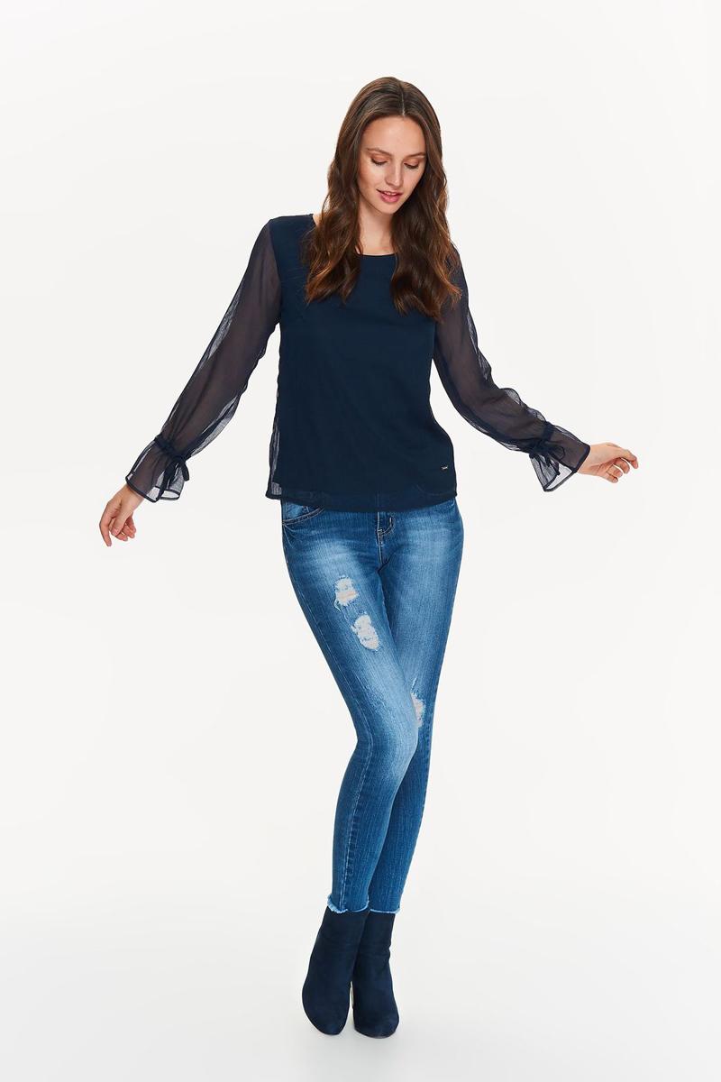 Блузка женская Top Secret, цвет: темно-синий. SBD0750GR. Размер 40 (48)SBD0750GRЭлегантная и чрезвычайно женственная блузка Top Secret. Двухслойная блузка с длинными прозрачными рукавами, обрамленными завязками. Идеально подходит на каждый день и для работы.