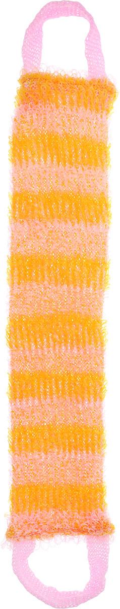 Мочалка Eva Букле. Полосы, вязаная, с ручками, цвет: розовый, оранжевый. М391М391Вязаная синтетическая мочалка Eva Букле. Полосы, изготовленная из полипропилена, отлично очищает кожу и создает обильную пену. Она быстро сохнет, не требует ухода, существенно экономит моющее средство и имеет длительный срок службы. Подходит для ухода за любым типом кожи. Размер мочалки (без учета ручек): 47 х 10 х 1 см. Длина мочалки (с учетом ручек): 64 см.
