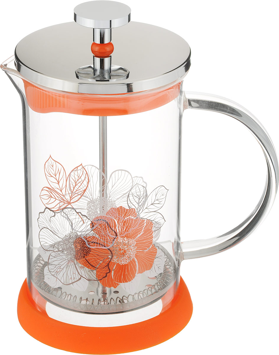 Френч-пресс Polaris Flower, 600 млFlower-600FPФренч-пресс Polaris Flower идеально подходит для заваривания кофе и чая.Колба изготовлена из жаропрочного стекла. Эргономичный поршень с фильтром выполнен из нержавеющей стали 18/12.Для удобства использования изделие снабжено съемной силиконовой подставкой.Френч-пресс Polaris Flowerвпишется в интерьер любой кухни, а также станет хорошим подарком для вас и ваших близких.Диаметр френч-пресса (по верхнему краю): 9 см.Высота френч-пресса: 17 см.Диаметр подставки: 10 см.Высота подставки: 1,5 см.