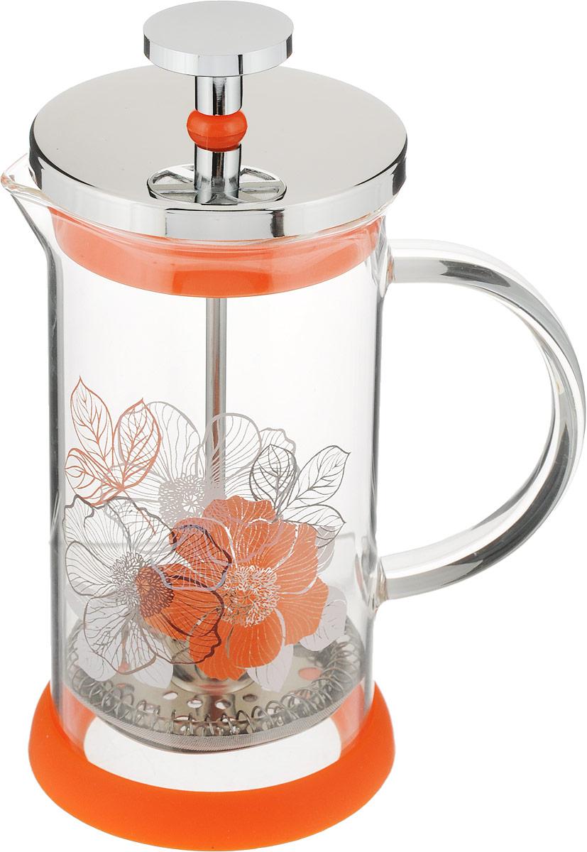 """Френч-пресс Polaris """"Flower"""" позволит быстро приготовить ароматный кофе, заварить чай или травяной настой. Поршень с фильтром выполнен из высококачественной нержавеющей стали 18/10, прозрачная колба изготовлена из жаропрочного стекла. Подставка из силикона обеспечивает устойчивость.  Можно мыть в посудомоечной машине.  Высота френч-пресса: 17 см.  Диаметр основания: 8 см.  Диаметр колбы: 7 см."""