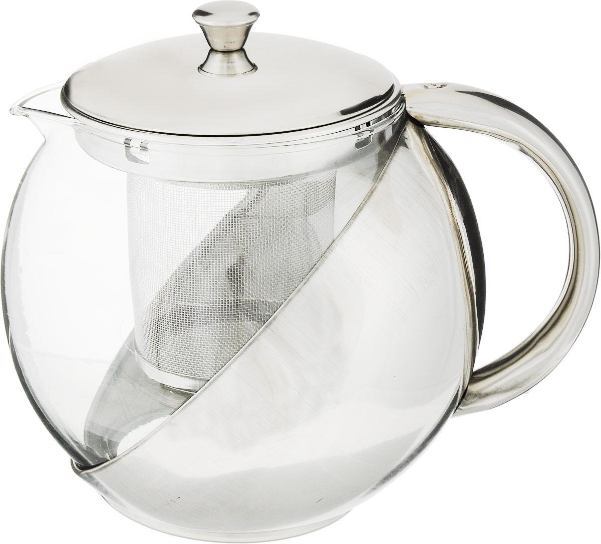 """Чайник заварочный """"Bohmann"""" позволит заварить насыщенный  ароматный чай. Корпус выполнен из хромоникелевой  нержавеющей стали (18/10), а колба изготовлена из  жаропрочного стекла. Чайник снабжен съемным  металлическим фильтром для заварки.  Это легкий и быстрый способ насладиться чашечкой горячего  напитка. Чайник можно мыть в посудомоечной машине.   Диаметр (по верхнему краю): 8,5 см.  Высота фильтра: 7,5 см.  Высота чайника: 12 см."""