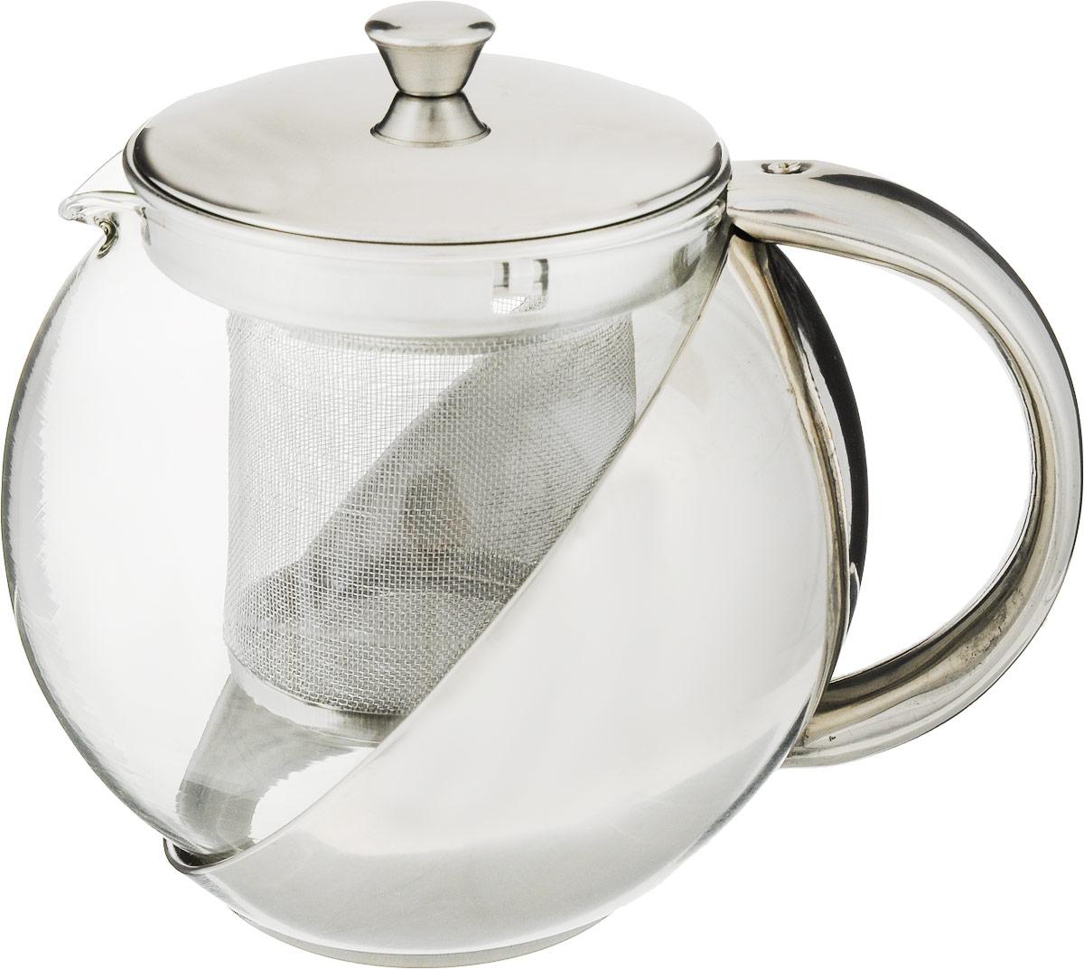 Чайник заварочный Bohmann, с фильтром, 500 мл105-105Изящный и современный чайник Bohmann изготовлен из высококачественной нержавеющейстали и жаропрочного стекла. Съемный фильтр из стали позволит быстро и легкоочистить чайник. Может быть использован для подачи как горячих, так и холодных напитков.Простой и удобный чайник Bohmann послужит великолепным подарком для любителейчая. Можно мыть в посудомоечной машине.Диаметр чайника (по верхнему краю): 7,5 см. Высота чайника (с учетом крышки): 11,5 см. Высота фильтра: 7,5 см.