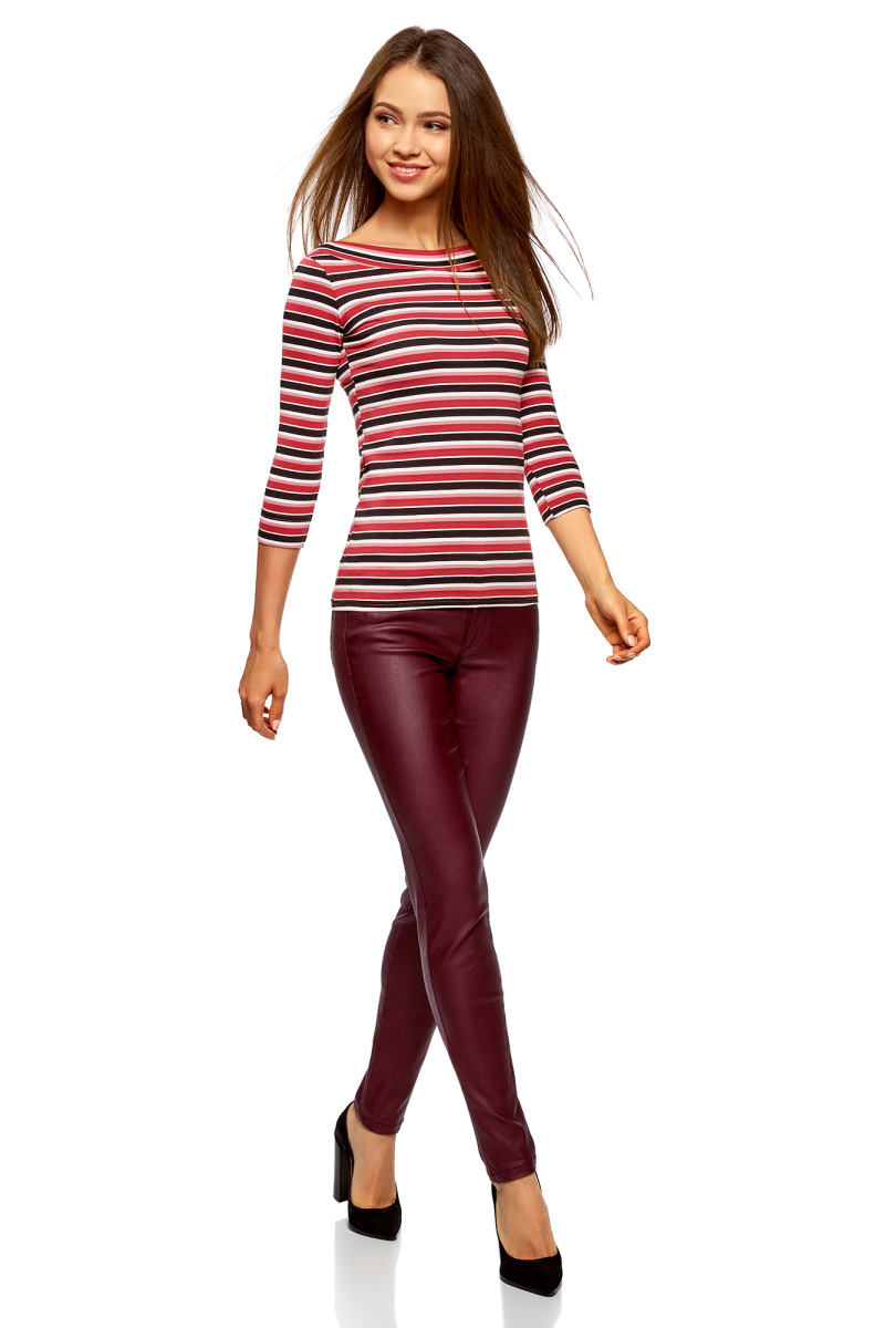 Лонгслив женский oodji Collection, цвет: бордовый, черный. 24201010B/46947/4929S. Размер XXL (52)