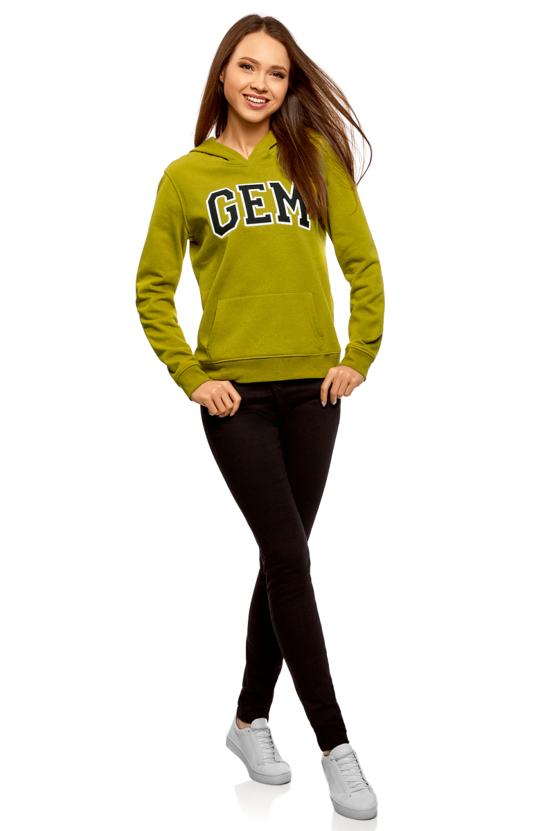 Толстовка женская oodji Ultra, цвет: желто-зеленый. 15401003-1/48017/6729P. Размер M (46)15401003-1/48017/6729PТолстовка от oodji выполнена из хлопкового трикотажа. Модель с длинными рукавами и капюшоном на груди оформлена принтом, спереди дополнена карманом кенгуру. Манжеты рукавов и низ изделия дополнены трикотажными резинками.