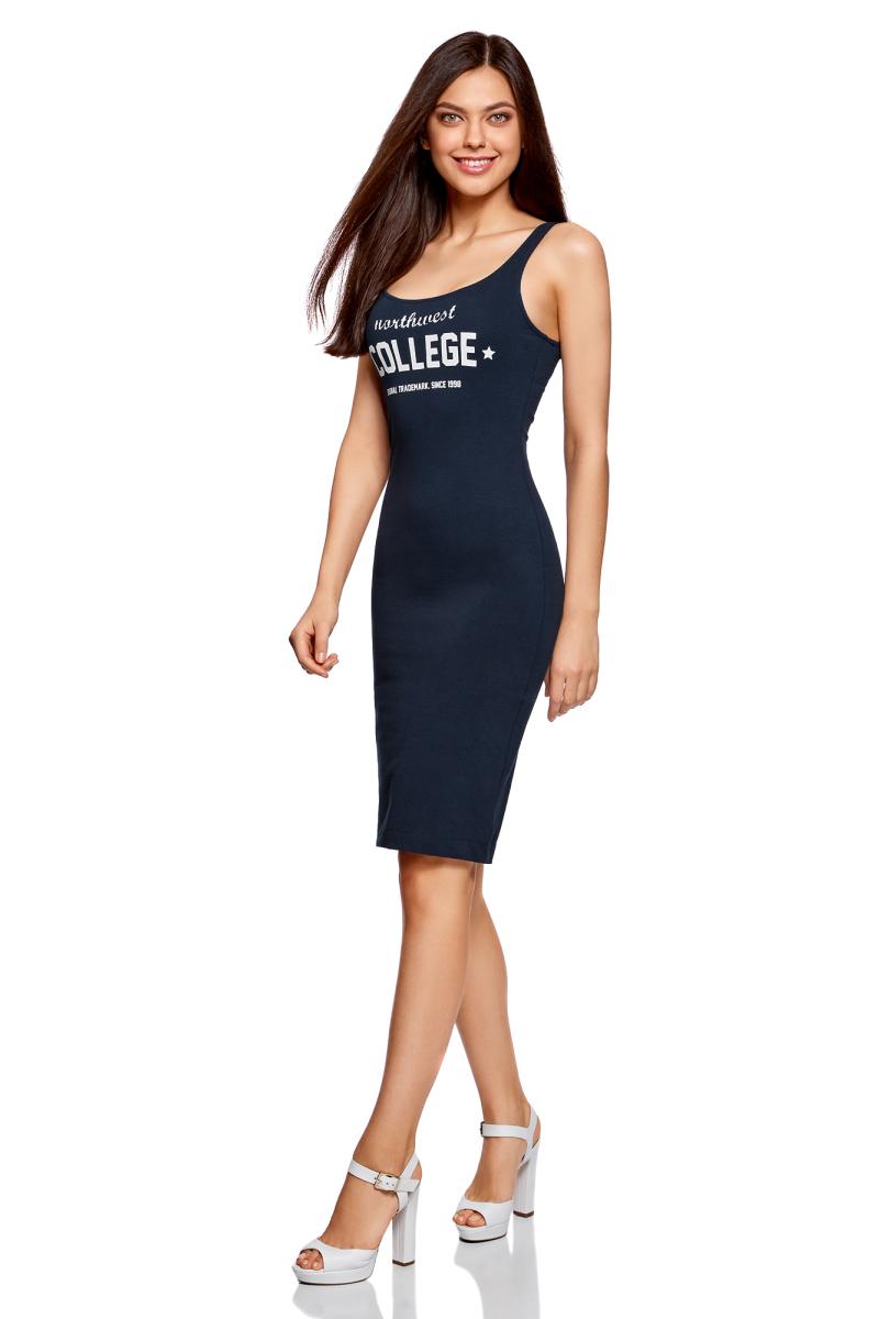Платье oodji Ultra, цвет: темно-синий. 14015007-6/47420/7912P. Размер XL (50)14015007-6/47420/7912PЛегкое обтягивающее платье oodji Ultra, выгодно подчеркивающее достоинства фигуры, выполнено из качественного эластичного хлопка и оформлено контрастной надписью. Модель миди-длины с круглым вырезом горловины и узкими бретелями дополнена разрезом на юбке с задней стороны. Мягкая ткань приятна на ощупь и комфортна в носке.