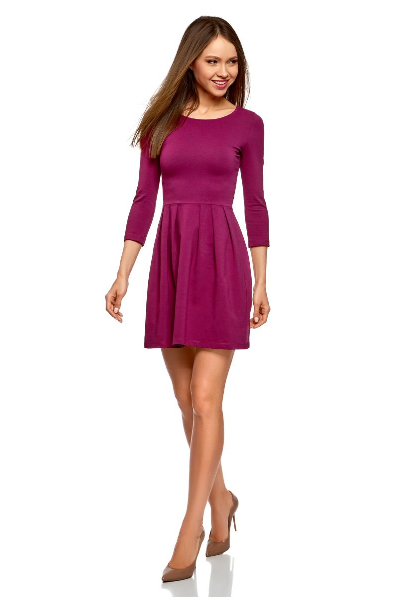 Платье oodji Ultra, цвет: ягодный. 14011005-3B/46148/4C01N. Размер XXL (52)14011005-3B/46148/4C01NПлатье от oodji выполнено из эластичного хлопкового трикотажа. Модель с рукавами 3/4 и круглым вырезом горловины дополнена отрезной юбкой со складками.
