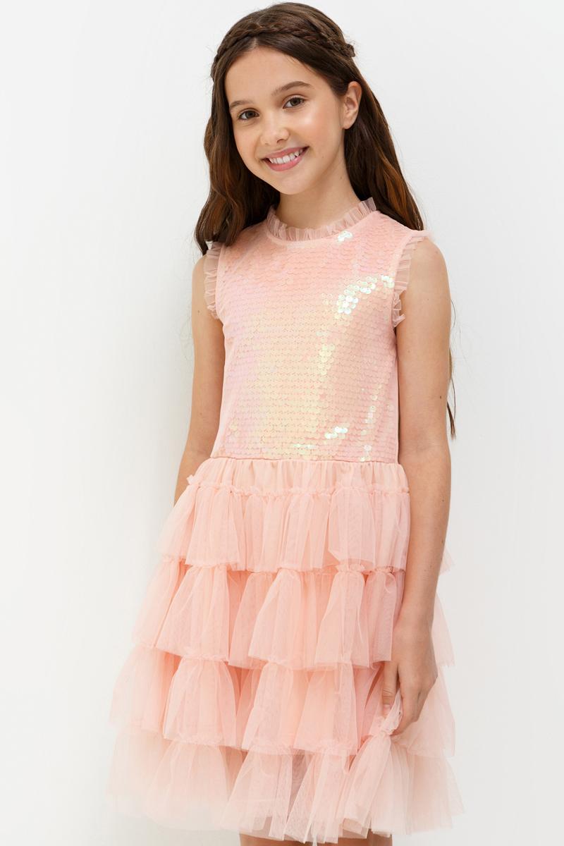 Платье для девочки Acoola Terravita, цвет: светло-розовый. 20210200203_3400. Размер 14620210200203_3400Стильное платье Acoola идеально подойдет вашей дочурке. Платье выполнено из полиэстера с подкладкой из эластана и хлопка. Платье без рукавов и круглым вырезом горловины дополнено пайетками. Модель застегивается на пуговицу, расположенную на спинке.