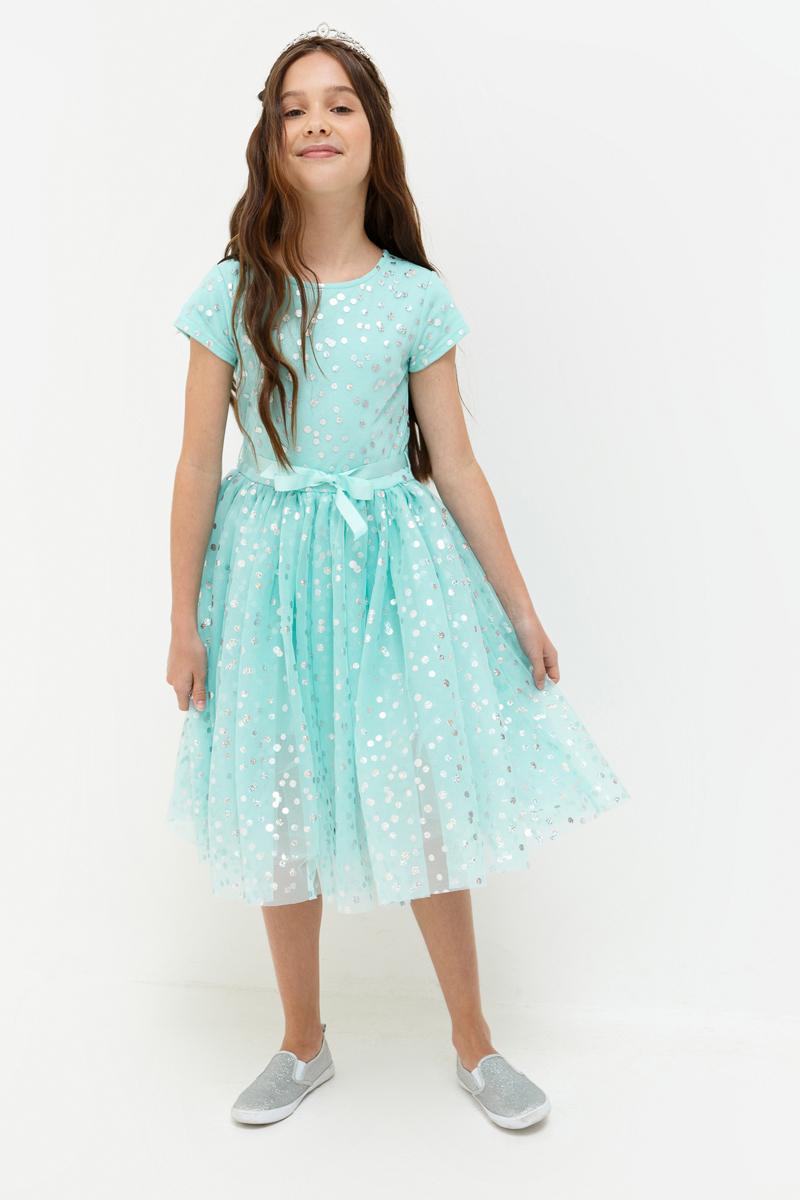 Платье для девочки Acoola Haribo, цвет: светло-бирюзовый. 20210200202_9300. Размер 14020210200202_9300