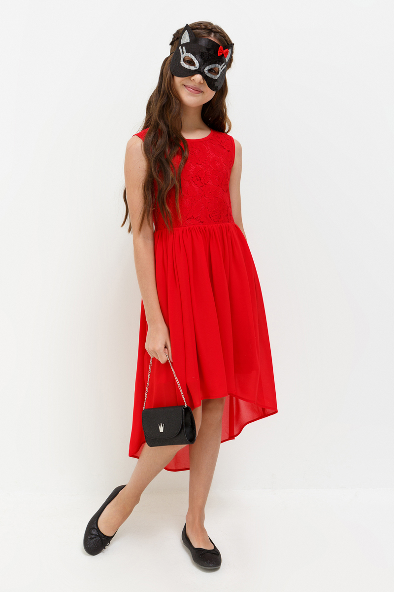 Платье для девочки Acoola Robin, цвет: красный. 20210200200_1500. Размер 14020210200200_1500Стильное платье Acoola идеально подойдет вашей дочурке. Платье выполнено из высококачественных материалов с подкладкой из полиэстера и вискозы, оформлено принтом. Платье без рукавов и круглым вырезом горловины застегивается на пуговицы и молнию, расположенные на спинке.