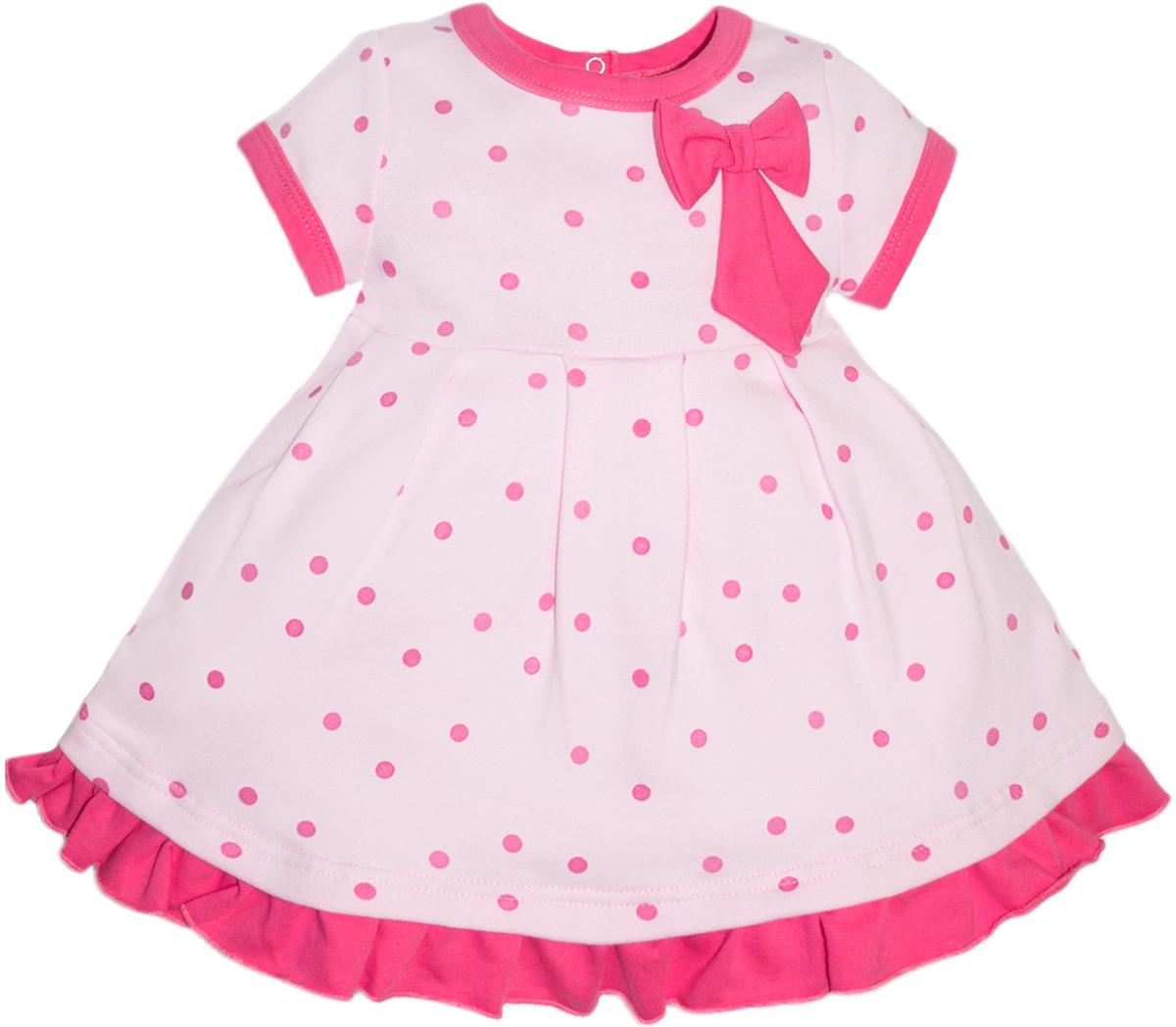 Платье для девочки Let's Go, цвет: розовый. 8123. Размер 68 платье без рукавов с декоративным бантом