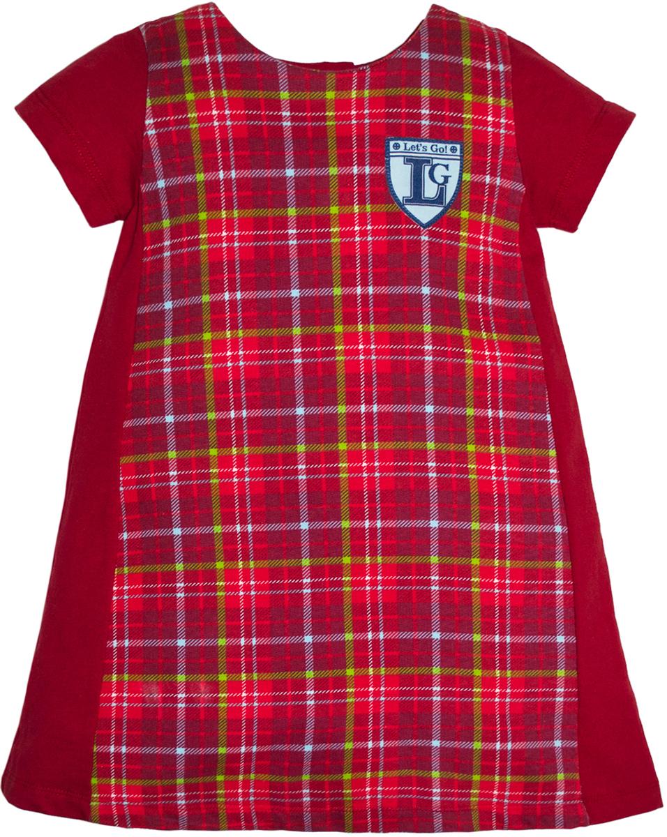 Платье для девочки Lets Go, цвет: красный. 8122. Размер 1048122Платье от Lets Go выполнено из натурального хлопкового трикотажа. Модель трапециевидного кроя с короткими рукавами и круглым вырезом горловины сзади застегивается на кнопки. На груди оформлено нашивкой.