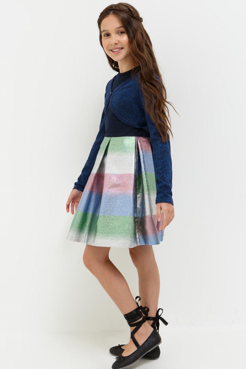Платье для девочки Acoola Ann, цвет: темно-синий. 20210200195_600. Размер 15220210200195_600Стильное платье Acoola идеально подойдет вашей дочурке. Платье выполнено из полиэстера с добавлением хлопка и эластана. Платье с короткими рукавами и круглым вырезом горловины дополнено принтом. Модель застегивается на молнию, расположенную на спинке.