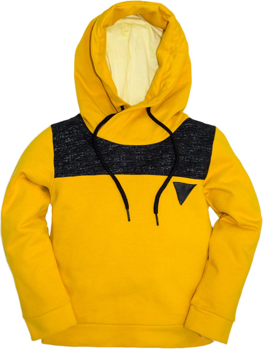 Толстовка для мальчика Lets Go, цвет: желтый. 6221. Размер 1166221Стильная толстовка Lets Go для мальчика выполнена из хлопка. Модель с капюшоном и длинными рукавами. Капюшон дополнен кулиской.