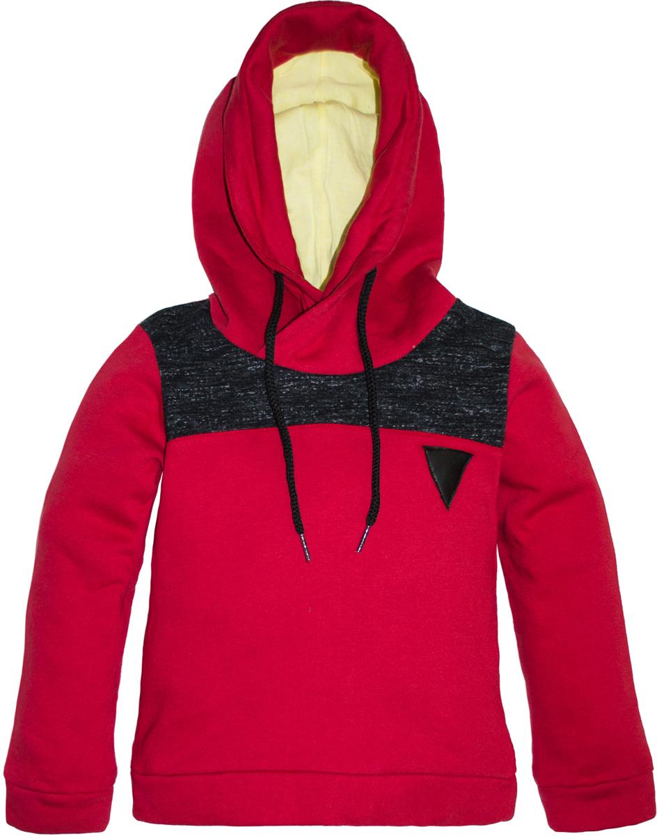 Толстовка для мальчика Lets Go, цвет: красный. 6221. Размер 1046221Стильная толстовка Lets Go для мальчика выполнена из хлопка. Модель с капюшоном и длинными рукавами. Капюшон дополнен кулиской.