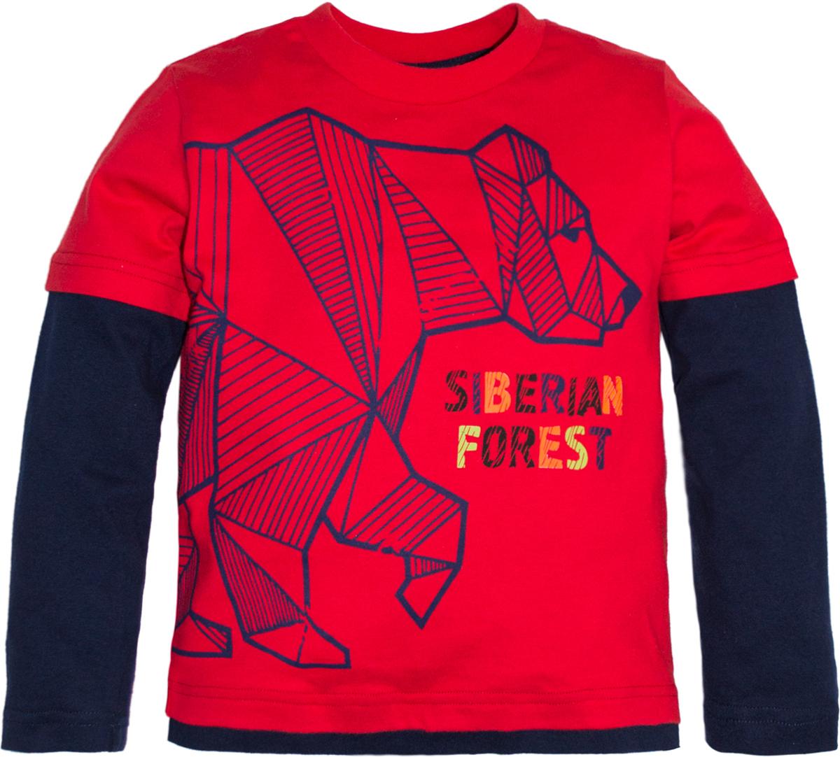 Футболка с длинным рукавом для мальчика Lets Go, цвет: красный. 6220. Размер 986220Стильная футболка с длинным рукавом Lets Go для мальчика выполнена из хлопка. Модель с круглым вырезом горловины и длинными рукавами. Спереди модель оформлена оригинальным принтом.