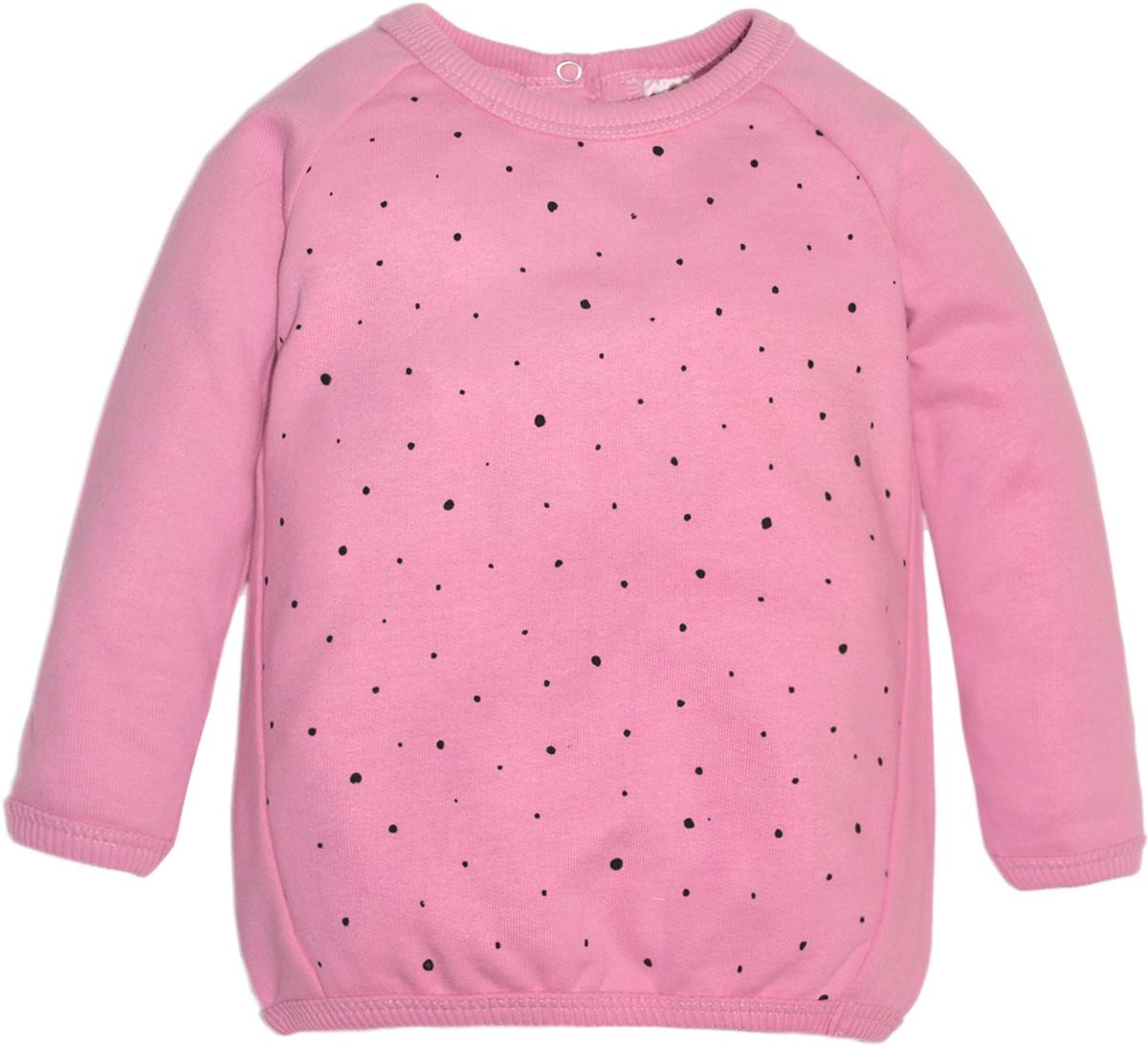 Свитшот для девочки Lets Go, цвет: розовый. 6142. Размер 746142Стильный свитшот Lets Go для девочки выполнен из хлопка. Модель с круглым вырезом горловины и длинными рукавами застегивается сзади на кнопку.