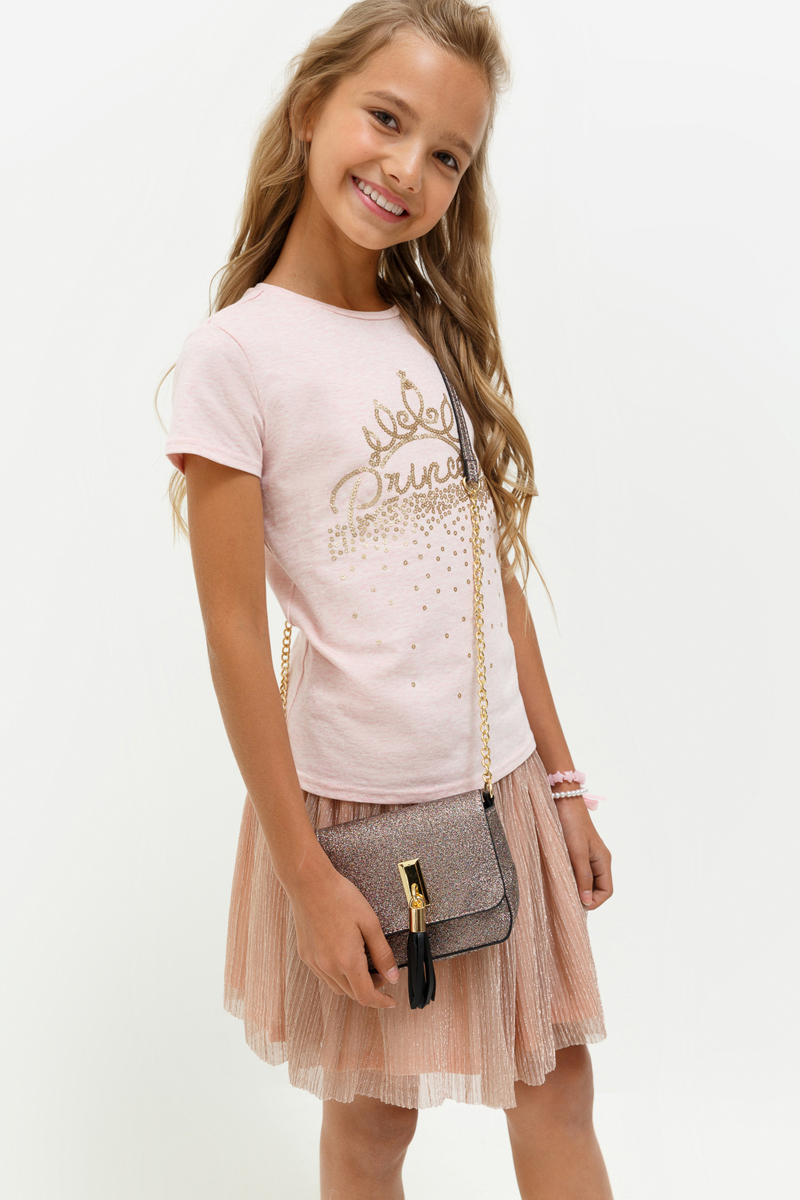 Футболка для девочки Acoola Meringue, цвет: светло-розовый. 20210110114_3400. Размер 158 брюки для девочки btc цвет черный 12 017900 размер 40 158