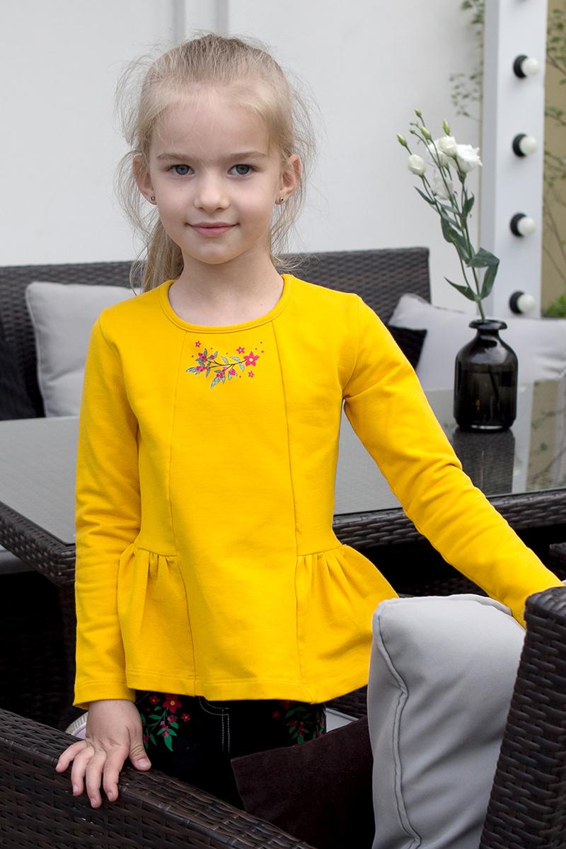 Футболка с длинным рукавом для девочки Lets Go, цвет: желтый. 6134. Размер 1226134Футболка с длинным рукавом для девочки Lets Go идеально подойдет вашему ребенку. Изготовленная из натурального хлопка, она необычайно мягкая и приятная на ощупь. Модель с длинными рукавами, баской и круглым вырезом горловина оформлена цветочным принтом. В ней ваш ребенок будет чувствовать себя уютно и комфортно.
