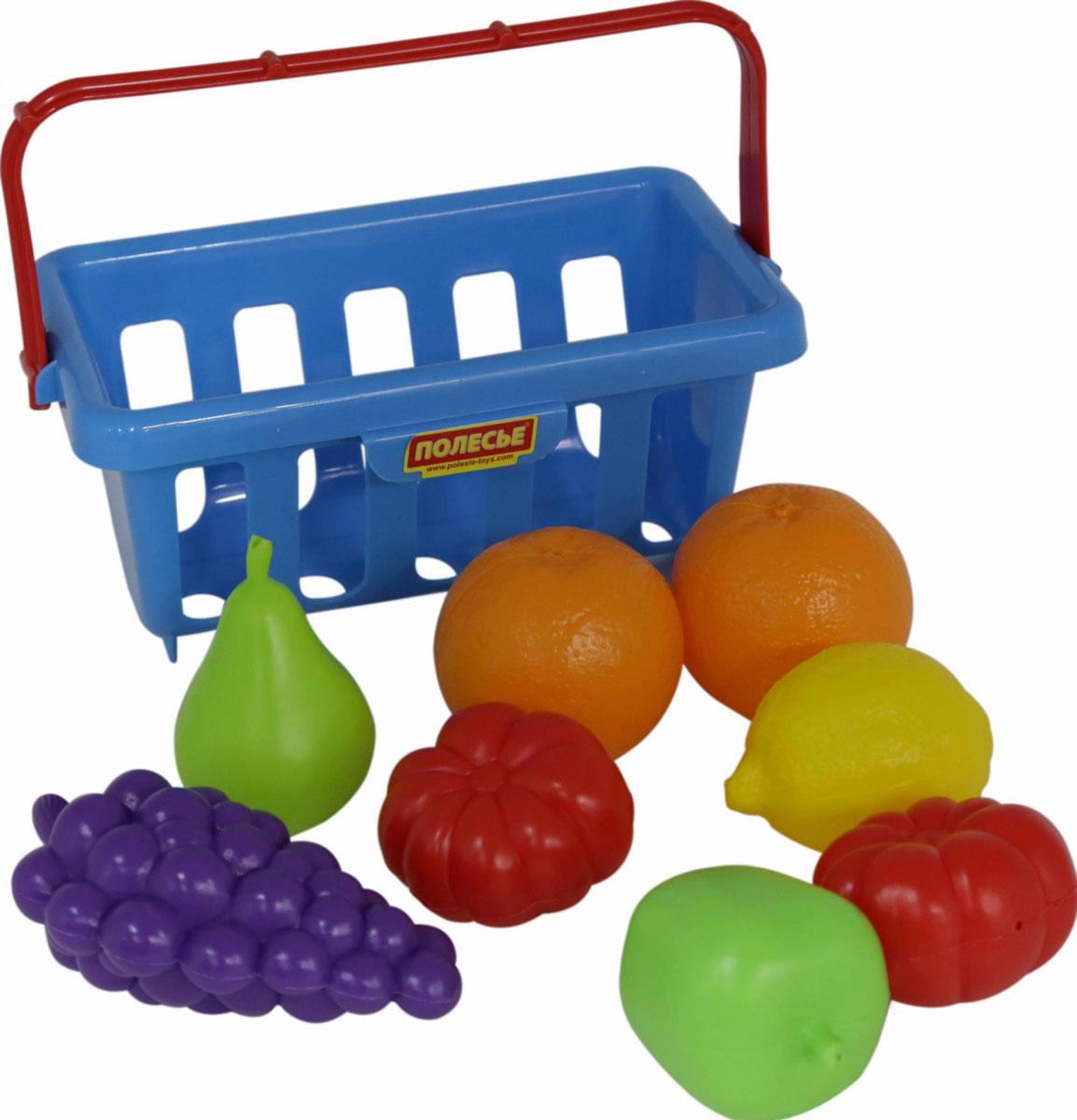 Полесье Игрушечный набор продуктов с корзинкой №2 цвет корзинки голубой полесье набор для песочницы 406