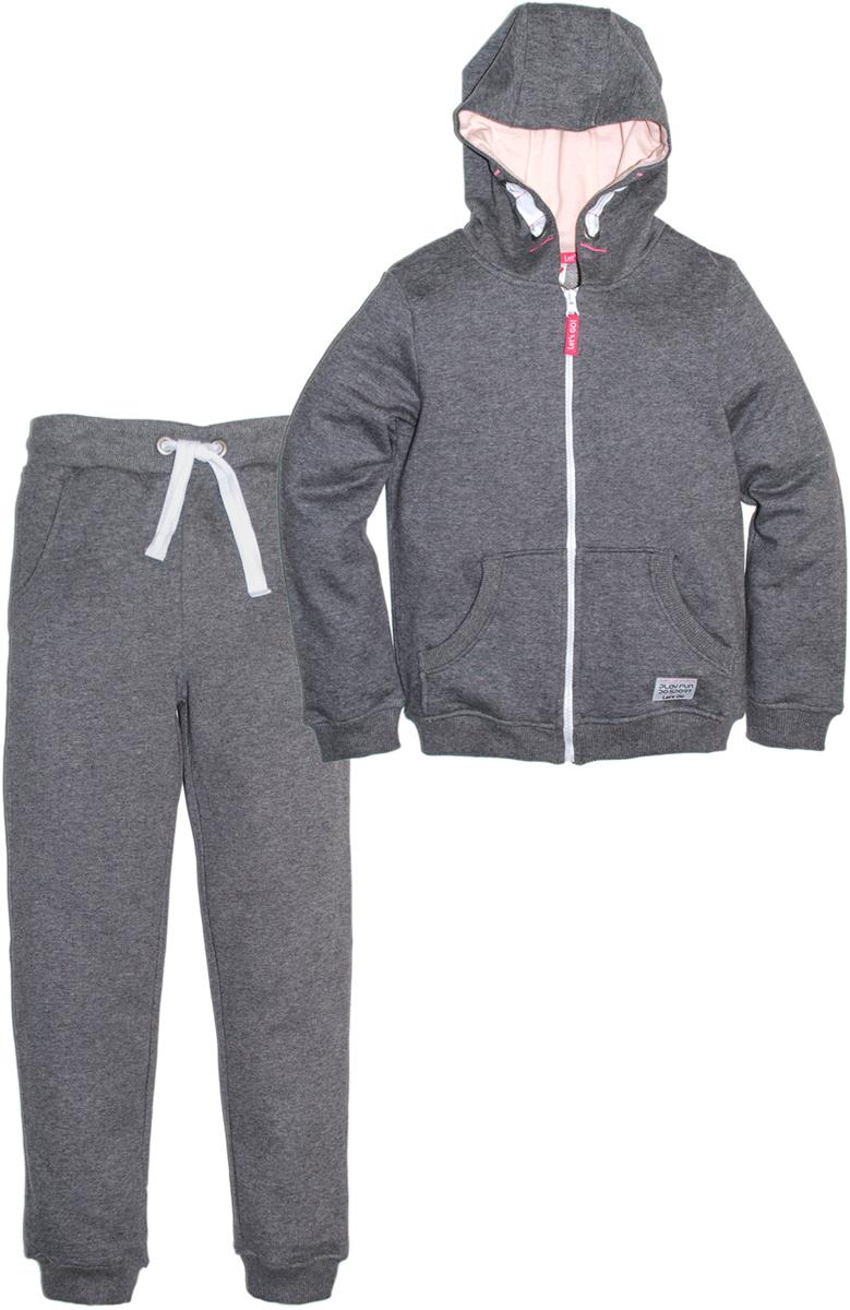 Спортивный костюм для девочки Let's Go, цвет: темно-серый. 1119. Размер 146 спортивный костюм для девочки adidas yg hood pes ts цвет розовый темно синий bs2151 размер 116