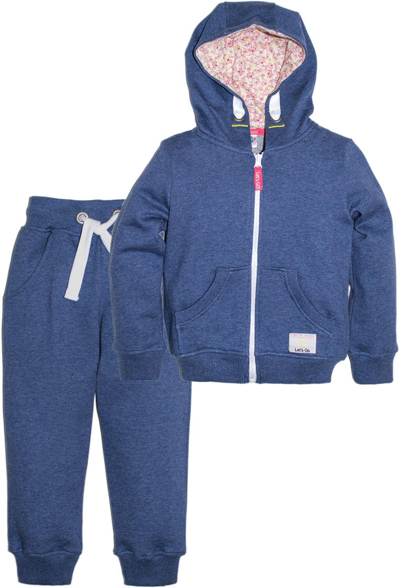 Спортивный костюм для девочки Let's Go, цвет: темно-синий. 1118. Размер 92 спортивный костюм для девочки adidas yg hood pes ts цвет розовый темно синий bs2151 размер 116