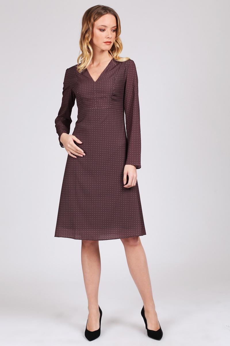 Платье Tom Farr, цвет: бордовый. TW1543.29708-2-coll. Размер M (46)TW1543.29708-2-collПлатье от Tom Farr с мелким геометрическим орнаментом. Платье длиной ниже колена подходит для любого типа фигуры, оно удобно, практично и элегантно.