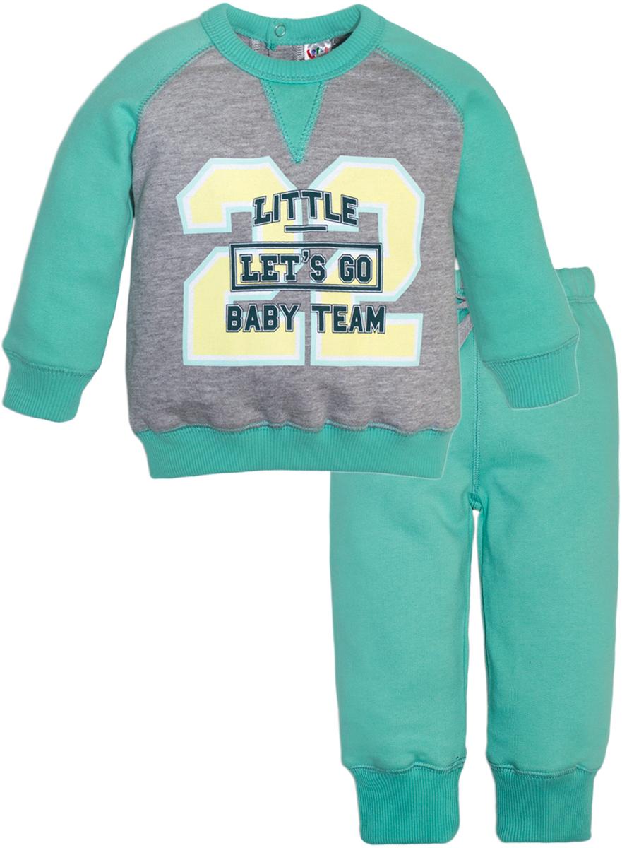 Комплект одежды для мальчиков Lets Go, цвет: зеленый.11124. Размер 7411124