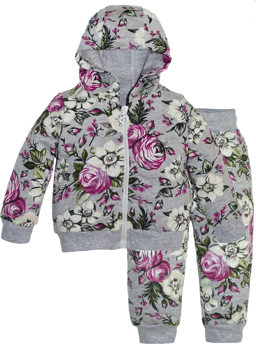 Комплект одежды для девочек Lets Go, цвет: серый.11118. Размер 7411118