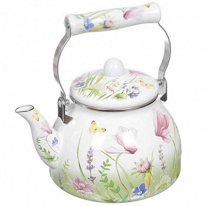 """Чайник Appetite """"Примавера"""" изготовлен из высококачественного стального проката с эмалированным покрытием. Внешние стенки оформлены ярким красочным изображением цветов и бабочек.  Эмалированная посуда очень удобна в использовании, она практична и элегантна. За такой посудой легко ухаживать: чистить и мыть. Чайники с эмалированным покрытием обладают неоспоримым преимуществом: гладкая поверхность не впитывает запахи и препятствует размножению бактерий. Чайник оснащен удобной керамической ручкой и крышкой.  Подходит для использования на всех видах плит: электрических, газовых, стеклокерамических, индукционных. Подходит для мытья в посудомоечной машине. Не предназначена для СВЧ-печей.    Диаметр по верхнему краю: 12 см.  Диаметр дна: 18 см. Высота стенки (без учета крышки): 12,5 см.  Размер чайника (с учетом носика и ручки): 25 х 19,5 х 23,5 см."""