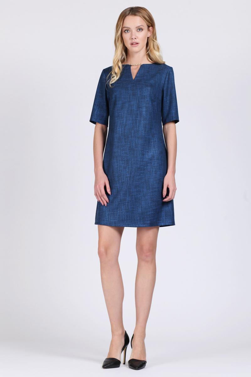 Платье Tom Farr, цвет: синий. TW1575.35808-1-coll. Размер L (48)TW1575.35808-1-collПлатье от Tom Farr выполнено из высококачественного материала. Модель приталенного кроя с фигурным вырезом горловины и короткими рукавами на спинке застегивается на потайную молнию.