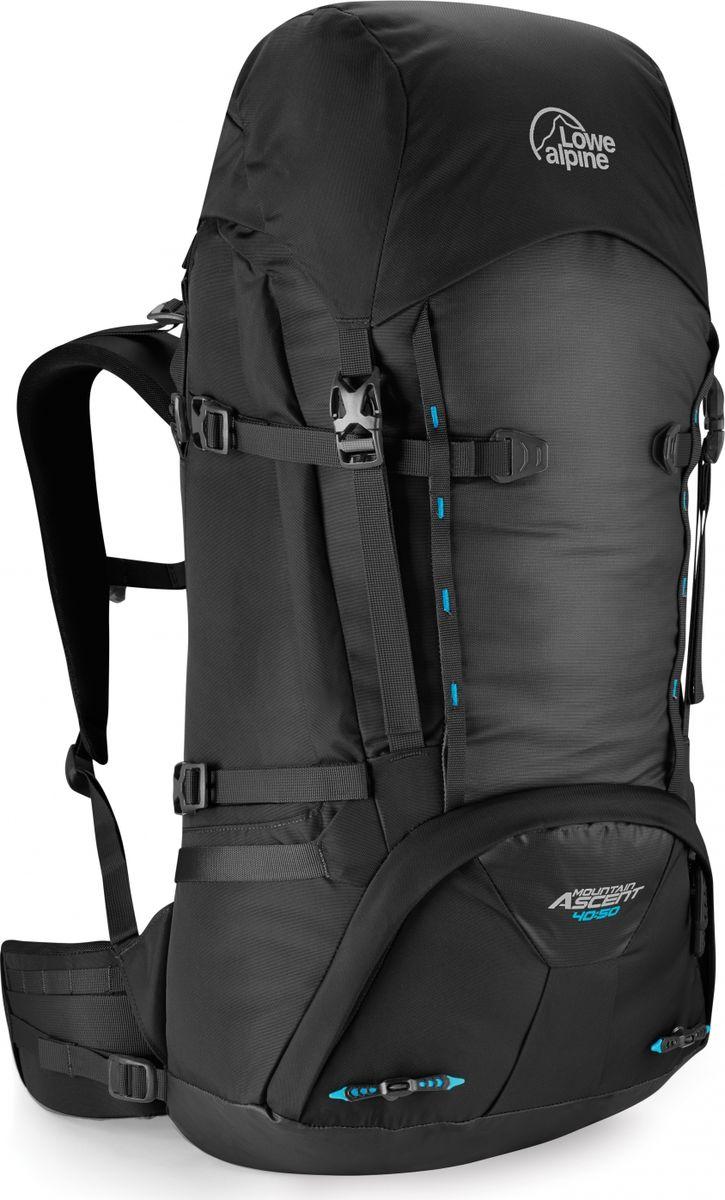 Рюкзак туристический Lowe Alpine Mountain Ascent 40:50, цвет: черный, 40 лFMP-74Рюкзак Mountain Ascent 40:50- легкий и функциональный рюкзак, он отлично подходит для восхождений, походов и скитуринга. Удобная верхняя загрузка, изменяемый объем от 40 до 50 литров и функциональные точки креплений для снаряжения позволят разместить все необходимые вещи, как для зимних восхождений, так и для летних выходов на скалы. Внешние точки крепления для веревки, навески дополнительного оборудования и ледового инструмента. Съемный пояс для удобства работы в страховочной системе. Специальные пряжки легко открываются в мороз даже в теплых перчатках. Анатомическая вентилируемая спинка рюкзака и поясной ремень равномерно распределяют нагрузку. Внутреннее отделение для гидратора позволяет пить воду на ходу, оставляя ваши руки свободными. Уникальная пряжка для надежной фиксации ледоруба в крепежной петле. Нижнее отделение позволит держать отдельно от основного содержимого некоторые вещи, например спальник, мокрую или грязную одежду. Полностью съемный верхний клапан с карманом на молнии. Крепление для ключей. Компрессионные ремни помогут изменить объем рюкзака и зафиксировать содержимое.
