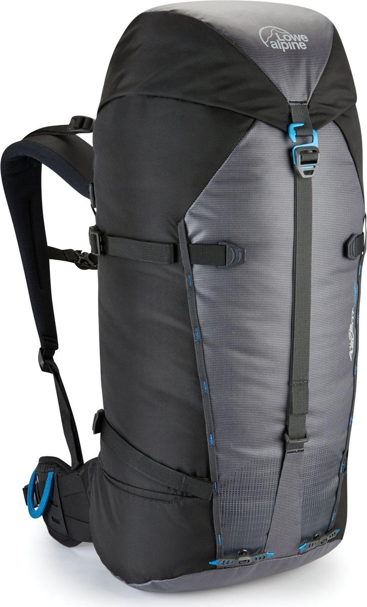 Рюкзак туристический Lowe Alpine Alpine Ascent 40:50, цвет: черный, серый, 40 лFMP-76Рюкзак Alpine Ascent 40:50 - легкий рюкзак с минималистичным функциональным дизайном, он отлично подходит для восхождений, скалолазания и походов. Удобная верхняя загрузка, изменяемый объем от 40 до 50 литров и функциональные точки креплений для снаряжения позволят разместить все необходимые вещи, как для зимних восхождений, так и для летних выходов на скалы. Внешние точки крепления для веревки, навески дополнительного оборудования и ледового инструмента. Съемный пояс для удобства работы в страховочной системе. Специальные пряжки легко открываются в мороз даже в теплых перчатках. Анатомическая вентилируемая спинка рюкзака и поясной ремень равномерно распределяют нагрузку. Внутреннее отделение для гидратора позволяет пить воду на ходу, оставляя ваши руки свободными. Уникальная пряжка для надежной фиксации ледоруба в крепежной петле. Полностью съемный верхний клапан с карманом на молнии. Крепление для ключей. Компрессионные ремни помогут изменить объем рюкзака и зафиксировать содержимое.
