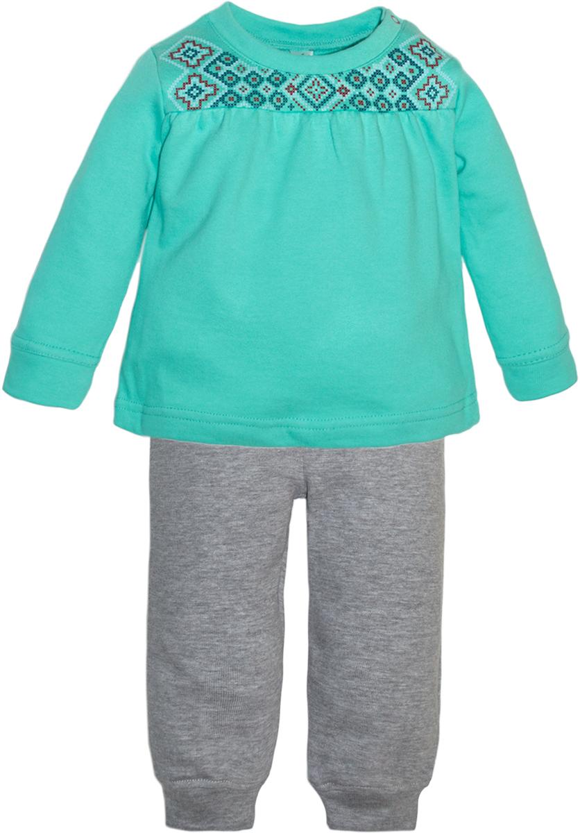 Комплект одежды для девочек Lets Go, цвет: бирюзовый.11115. Размер 8011115