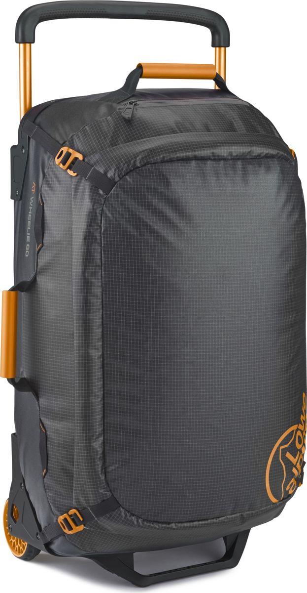 Сумка Lowe Alpine AT Wheelie 60 (27), на колесах, цвет: черный, оранжевый, 60 лFTR-46Сумка на колесах AT Wheelie достаточно вместительная, объема 60 литров вполне хватит, чтобы разместить все необходимые вещи. Она выполнена из прочного легкого материала. Особенности:- Комфортная телескопическая ручка, удобные ручки для переноски. - Плечевые лямки для возможности нести сумку как рюкзак. - Увеличенные колеса имеют плавный тихий ход. - Компрессионные ремни зафиксируют содержимое. - Широкий доступ в основное отделение.