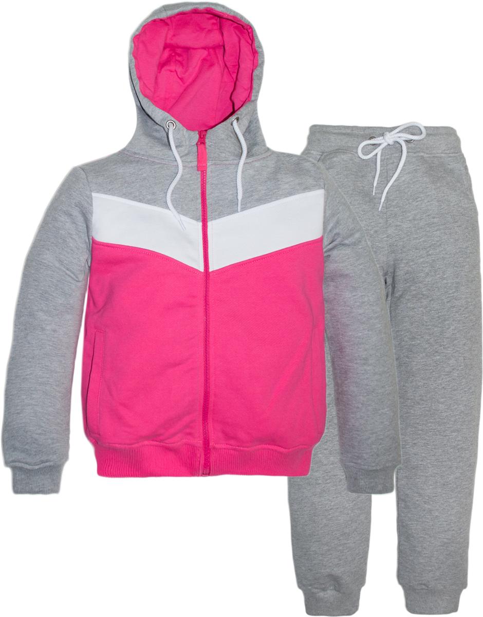 Спортивный костюм для девочки Lets Go, цвет: розовый. 11114. Размер 14611114Спортивный костюм для девочки Lets Go состоит из толстовки и брюк. Изделия выполнены из хлопка. Толстовка с капюшоном и длинными рукавами застегивается на молнию. Брюки по низу и в поясе дополнены трикотажными манжетами.