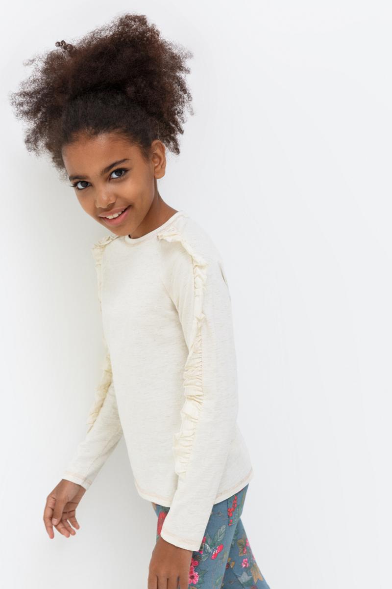 Джемпер для девочки Acoola Nivea, цвет: молочный. 20210100152_800. Размер 15220210100152_800Джемпер для девочки Acoola идеально подойдет вашей маленькой моднице. Изготовленный из хлопка с добавлением полиамида и полиэстера, он необычайно мягкий и приятный на ощупь, не сковывает движения, обеспечивая наибольший комфорт. Модель с длинными рукавами и круглым вырезом горловины дополнена на рукавах рюшами.