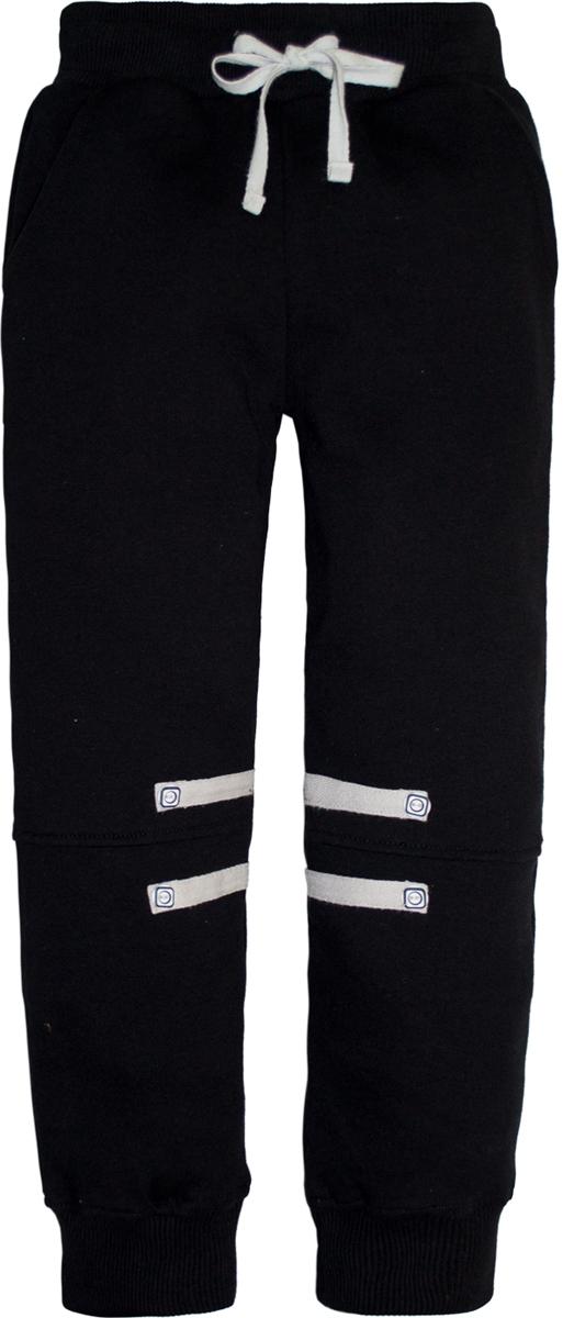 Брюки спортивные для мальчика Lets Go, цвет: черный. 10148. Размер 11610148Спортивные брюки для мальчика Lets Go выполнены из высококачественного материала. Пояс и низ брючин выполнены из трикотажной резинки. Спереди модель дополнена двумя карманами.