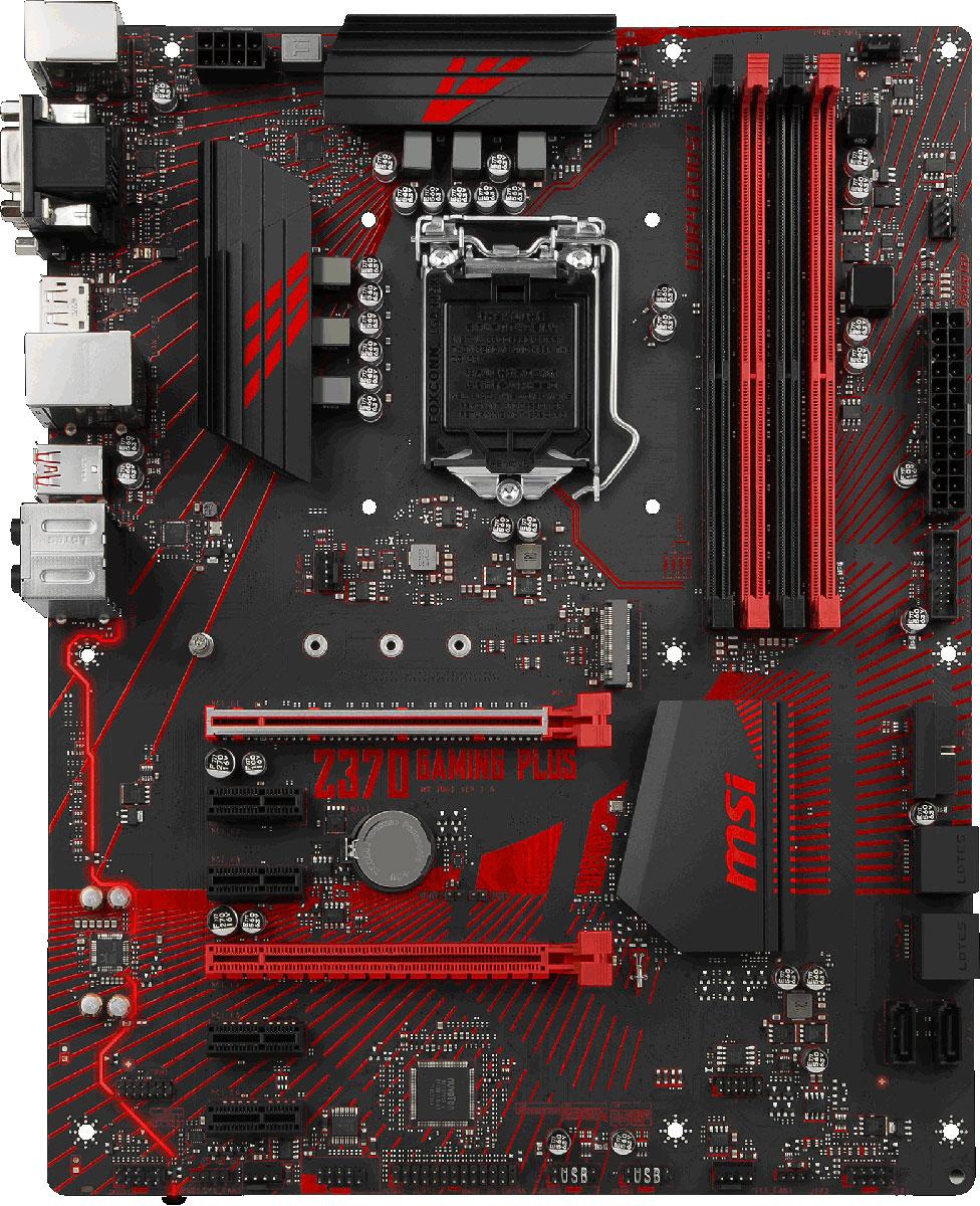 MSI Z370 Gaming Plus материнская платаZ370 GAMING PLUSМатеринские платы MSI Z370 Gaming Plus открывают новую эру гейминга. Благодаря уникальному внешнему виду и эксклюзивным геймерским функциям, материнские платы Gaming предлагают лучшие игровые возможности.Охлаждение компьютера является существенно важным, когда речь идет о стабильности и высокой производительности. Для этого мы установили на плате достаточное количество разъемов для подключения управляемых вентиляторов. Теперь вы можете полностью контролировать охлаждение вашей системы.Высококачественные материалы и интеллектуальное управление вентиляторами способствуют лучшему охлаждению ключевых компонентов, что гарантирует стабильную работу системы и лучшую производительность во время продолжительных игровых сессий.Материнские платы MSI позволяют полностью контролировать температуру внутри системного блока, осуществляя управление вентиляторами, добиваясь, тем самым, минимального уровня шума. Разъемы для подключения вентиляторов также имеют удобное расположение на плате и позволяют подключать самые популярные кулеры.Разъемы вентиляторов на материнских платах MSI автоматически определяют режим работы вентилятора: DC или PWM, оптимизируя скорость вращения вентилятора и уровень шума. Гистерезис способствует плавной работе вентиляторов, позволяя системе оставаться тихой.Все разъемы M.2 и U.2 на плате поддерживают NVMe - самый высокопроизводительный стандарт для твердотельных дисков в мире. Проще говоря, материнские платы MSI предлагают лучшее из лучшего для организации производительной дисковой подсистемы. Мгновенно загружайте ваши любимые игры и будьте первым на поле боя вместе с MSI.Основываясь на многолетнем опыте разработки материнских плат с Hi-Fi звуком для геймеров, мы создали технологию Audio Boost. Audio Boost представляет собой высококачественный аудио модуль, что дает преимущество над оппонентами во время игры. Обнаруживайте врагов с закрытыми глазами благодаря Audio Boost.Благодаря контактам разъемов, по