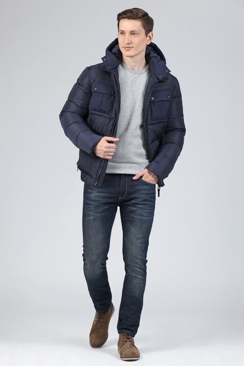Пуховик мужской Tom Farr, цвет: темно-синий. T4FM3103.67810-1. Размер S (46)