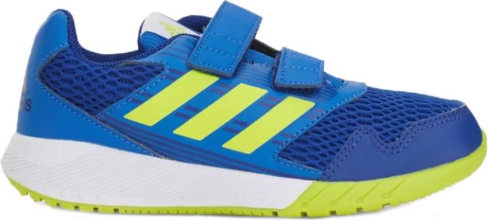 Кроссовки для мальчика Adidas AltaRun CF K, цвет: синий, зеленый. S81072. Размер 35 (34,5)S81072В этих детских беговых кроссовках от adidas удобно как играть, так и заниматься спортом. Прочная и при этом гибкая конструкция обеспечивает ежедневный комфорт. Дышащий верх из сетки дополнен вставками, поддерживающими стопу в правильном положении. Двухцветная промежуточная подошва в спортивном стиле. Удобные застежки на липучках для быстрого снимания и надевания. Измерительная стелька Adifit для точного подбора по размеру. Удобная и функциональная стелька с антимикробным покрытием EcoOrthoLite.