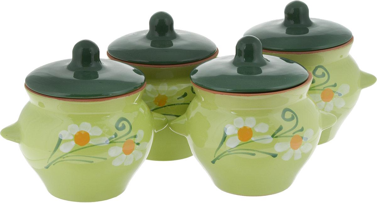 Набор горшочков для запекания Борисовская керамика  Подарочный , цвет: светло-коричневый, 500 мл, 4 шт - Посуда для приготовления