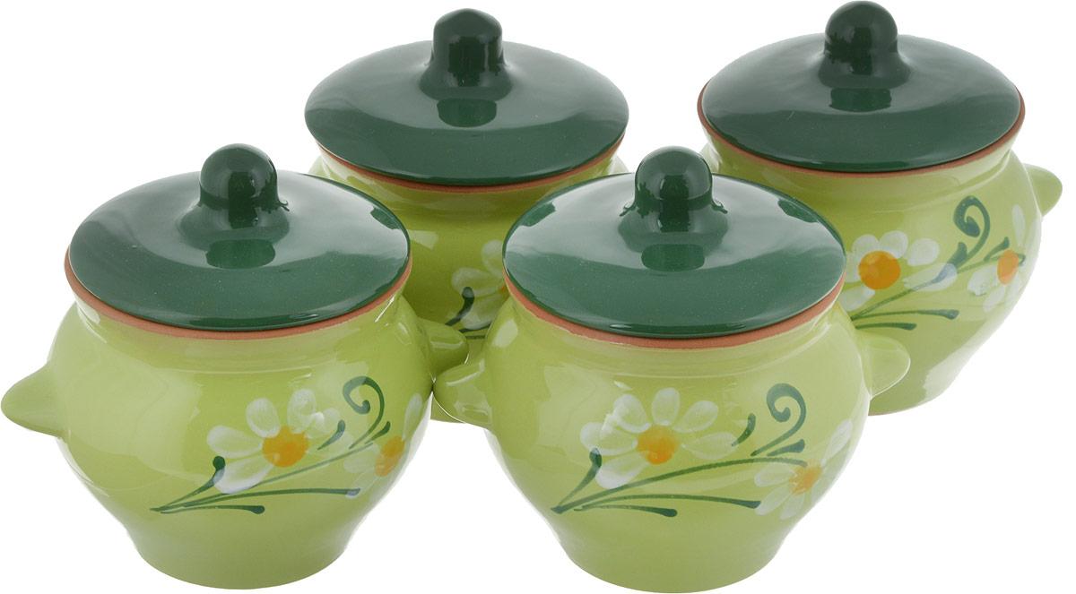 Набор горшочков для запекания Борисовская керамика  Подарочный , цвет: светло-зеленый, 500 мл, 4 шт - Посуда для приготовления